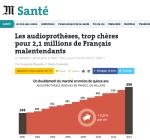 """Article le Monde """"Le marché verouillé de l'audioprothèse"""""""